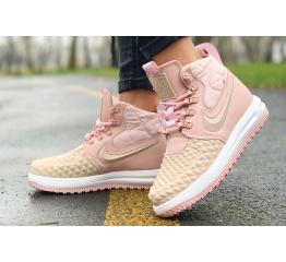 Женские высокие кроссовки Nike Lunar Force 1 Duckboot розовые