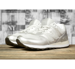 Женские кроссовки New Balance 574 серебряные