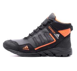 Купить Мужские ботинки на меху Adidas TERREX черные с оранжевым