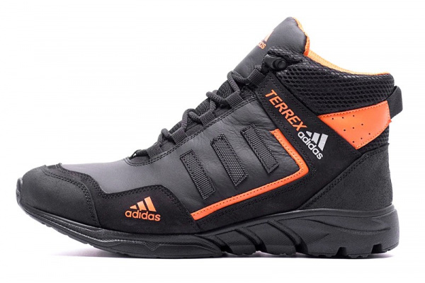 Мужские ботинки на меху Adidas TERREX черные с оранжевым