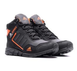 Купить Мужские ботинки на меху Adidas TERREX черные с оранжевым в Украине