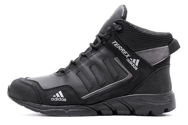 Мужские ботинки на меху Adidas TERREX черные с серым
