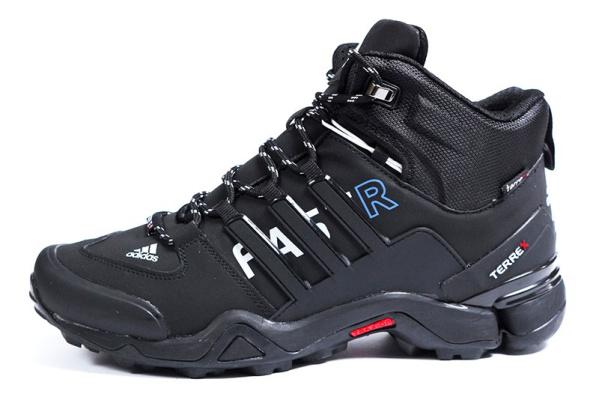 Мужские ботинки на меху Adidas Terrex Fast R Mid GTX черные с белым