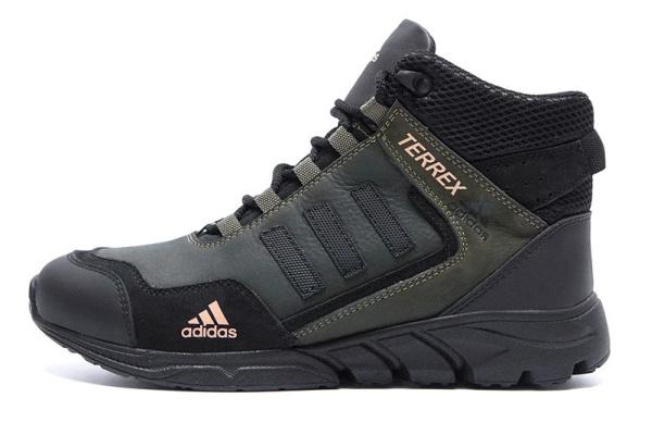 Мужские ботинки на меху Adidas TERREX темно-зеленые