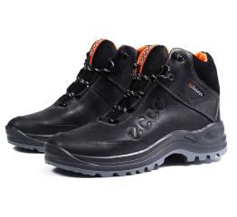 Купить Мужские ботинки на меху Ecco Biom черные с оранжевым в Украине