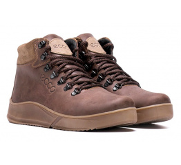 Купить Мужские ботинки на меху Ecco коричневые в Украине