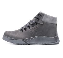 Мужские ботинки на меху Ecco серые