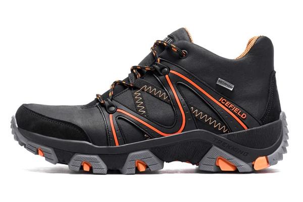 Мужские ботинки на меху IceField Gore-Tex черные с оранжевым