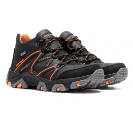 Купить Мужские ботинки на меху IceField Gore-Tex черные с оранжевым в Украине