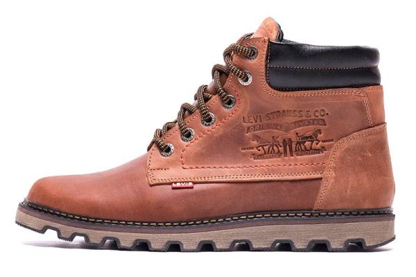 Мужские ботинки на меху Levi's коричневые