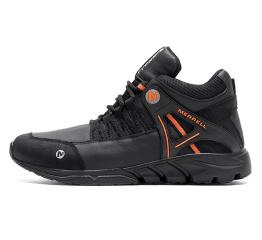 Мужские ботинки на меху Merrell черные с оранжевым