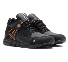 Купить Мужские ботинки на меху Merrell черные с оранжевым в Украине