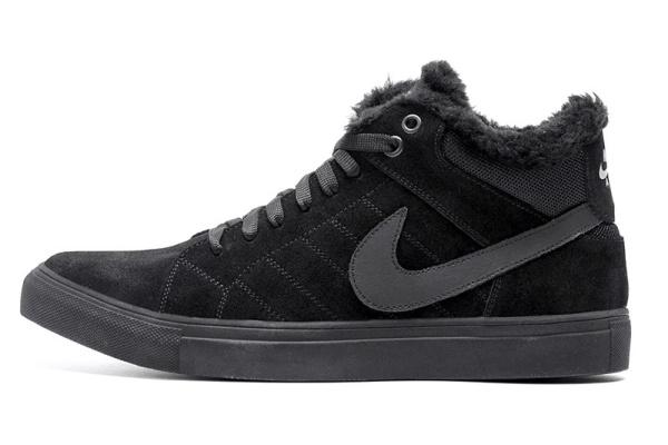 Мужские ботинки на меху Nike Air Suede High черные