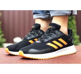 Купить Мужские кроссовки Adidas Boost черные с оранжевым