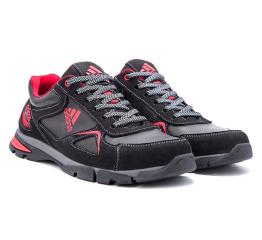 Мужские кроссовки Adidas черые с красным (black-red)