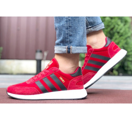 Купить Мужские кроссовки Adidas Iniki Runner красные с черным