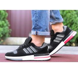 Купить Мужские кроссовки Adidas ZX 500 RM черные с белым и красным