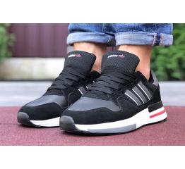 Купить Мужские кроссовки Adidas ZX 500 RM черные с белым и красным в Украине