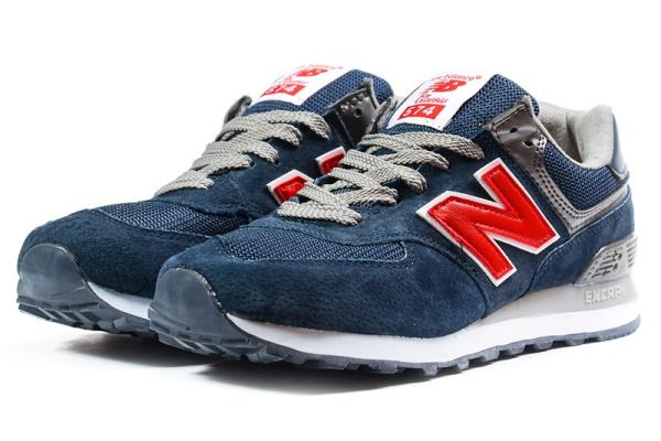 Мужские кроссовки New Balance 574 темно-синие с красным