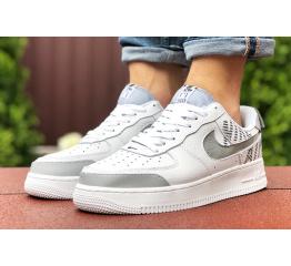Купить Мужские кроссовки Nike Air Force 1 low белые с серым