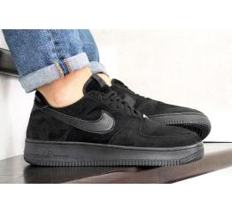 Купить Мужские кроссовки Nike Air Force 1 Low черные (black/suede)