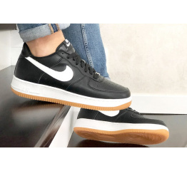 Купить Мужские кроссовки Nike Air Force 1 Low черные с белым (black/white/gum) в Украине