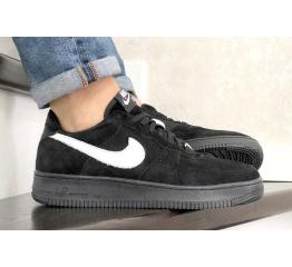 Купить Мужские кроссовки Nike Air Force 1 Low черные с белым (black/white/suede)