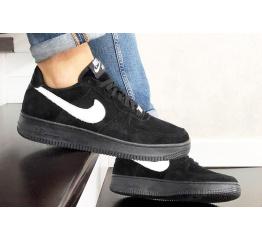 Купить Мужские кроссовки Nike Air Force 1 Low черные с белым (black/white/suede) в Украине