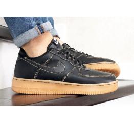 Купить Мужские кроссовки Nike Air Force 1 Low черные с коричневым (black/gum)