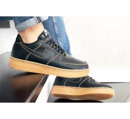 Купить Мужские кроссовки Nike Air Force 1 Low черные с коричневым (black/gum) в Украине