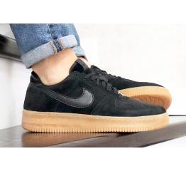 Купить Мужские кроссовки Nike Air Force 1 Low черные с коричневым (black/suede/gum)