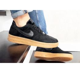 Купить Мужские кроссовки Nike Air Force 1 Low черные с коричневым (black/suede/gum) в Украине