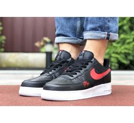 Купить Мужские кроссовки Nike Air Force 1 Low черные с красным в Украине