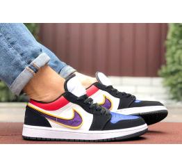 Купить Мужские кроссовки Nike Air Jordan 1 Retro Low белые с фиолетовым