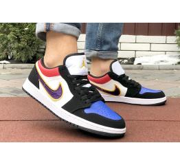 Купить Мужские кроссовки Nike Air Jordan 1 Retro Low белые с фиолетовым в Украине