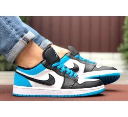 Купить Мужские кроссовки Nike Air Jordan 1 Retro Low белые с синим
