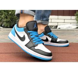 Купить Мужские кроссовки Nike Air Jordan 1 Retro Low белые с синим в Украине