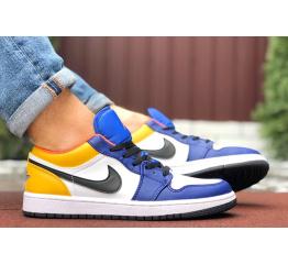 Купить Мужские кроссовки Nike Air Jordan 1 Retro Low белые с желтым