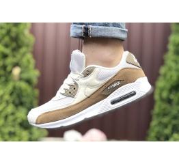 Купить Мужские кроссовки Nike Air Max 90 белые с бежевым и коричневым в Украине