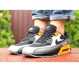 Купить Мужские кроссовки Nike Air Max 90 черные с серым и оранжевым