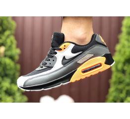 Купить Мужские кроссовки Nike Air Max 90 черные с серым и оранжевым в Украине