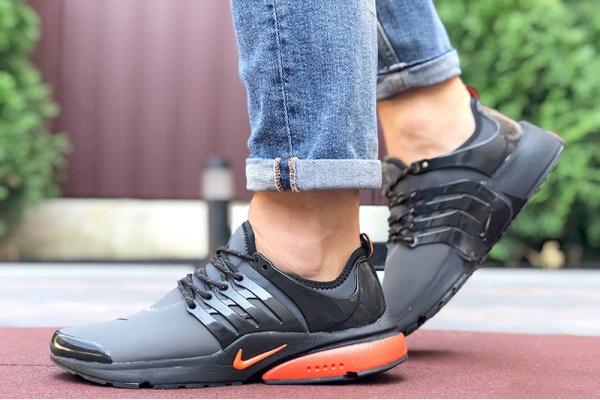 Мужские кроссовки Nike Air Presto серые с оранжевым