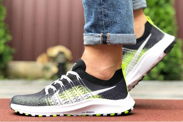 Мужские кроссовки Nike Air Zoom черные с неоново-зеленым