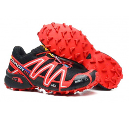 Купить Мужские кроссовки Salomon Speedcross 3 черные с красным