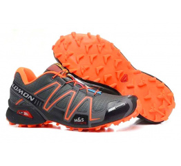 Купить Мужские кроссовки Salomon Speedcross 3 серые с оранжевым