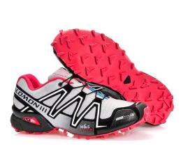 Купить Мужские кроссовки Salomon Speedcross 3 светло-серые с красным