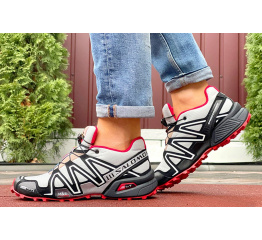 Купить Чоловічі кросівки Salomon Speedcross 3 светло-сірі з червоним в Украине