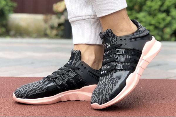 Женские кроссовки Adidas EQT Support Adv 91/17 серые с черным и розовым