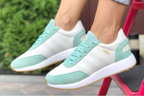 Женские кроссовки Adidas Iniki Runner белые с бирюзовым