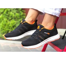 Купить Жіночі кросівки Adidas Neo чорні з помаранчевим